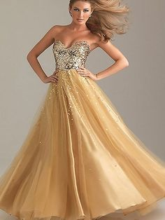 Sweetheart Gold Tulle with Sequins Princess Sparkly Prom Dress in UK
