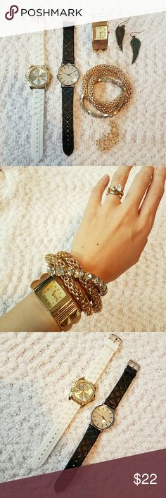 6PC Jewelry Bundle This bundle will include 3 watches, 1 stack bracelet, 1 left ear cuff & 1 pair of angel wing earrings! The ear cuff does require your lobe to be pierced! All watches still work! Charlotte Russe Jewelry