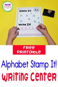 Learning the alphabet is an important skill for early learners! Have a blast practicing letter recognition and formation with these fun and free Alphabet Stamp Handwriting Printables for Pre-K & Kindergarten. These printable handwriting pages are great for an independent activity in classroom or for use in small groups and writing centers. Writing Centers, Activity Centers, Literacy Centers, Kindergarten Writing Activities, Literacy Skills, Learning The Alphabet, Kids Learning, Alphabet Stamps, Free Education