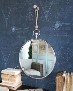 Specchio rotondo vintage con corda london city Applique, Shabby Chic, Mirror, Vintage, Furniture, Home Decor, Decoration Home, Room Decor, Mirrors