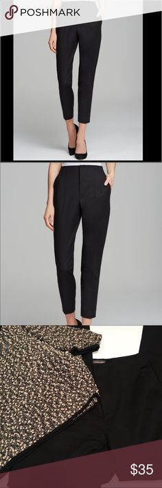 """Vince Camuto Black High-Waisted Ankle Pants Beautiful Vince Camuto black high-waisted pants in black. Size 4. Excellent condition; worn only once for an interview. 98% cotton, 2% spandex. Approximate rise: 11"""" inches. Approximate inseam: 27"""" inches. Perfect staple for work and on-the-town wear. 15.5"""" inches across the waist when measured flat. Vince Camuto Pants Ankle & Cropped"""