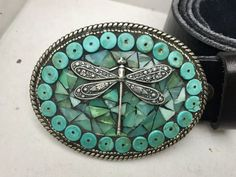 Mosaic Belt Buckle Turquoise Buckle Dragonfly by camillaklein