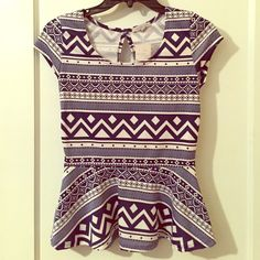Charlotte Russe blue Aztec peplum top Form fitting 95% polyester 5% spandex blue and white Aztec top. Brand new, never worn with tags Charlotte Russe Tops
