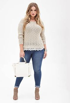 Lace-Trimmed Sweater - Up to off select sweaters - 2000137621 - Forever 21 UK Diva Fashion, Curvy Fashion, Plus Size Fashion, Fashion Outfits, Plus Size Girls, Plus Size Women, Curvy Outfits, Plus Size Outfits, Plus Size Looks
