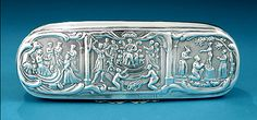 Dutch Silver Tobacco Box, Christoffel Woortman, Amsterdam, c1796  With panels of Biblical scenes to the hinged cover and verso :   Solomon a...