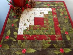 Christmas Quilt Candle Mat/Table Topper Log Cabin Christmas fabrics, red, green and white by RubysQuiltShop on Etsy