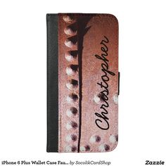 iPhone 6 Plus Wallet Case Faux Rusty Metal Custom - This rugged, masculine wallet case for the iPhone 6 Plus is decorated with our original photo of rusty metal. This style is personalized with a large vertical script name in dark dark brown. Original photograph by Marcia Socolik. All Rights Reserved © 2015 Alan & Marcia Socolik.
