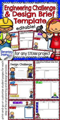 Design brief template to introduce a STEM/STEAM project for elementary labs. Student worksheets for each step of the engineering and design process. Print packets to use with all of your STEAM projects, or customize them to create your own design challenge.