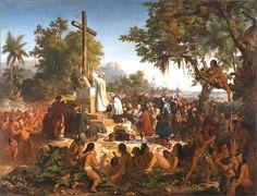 Primeira Missa no Brasil, de Vítor Meireles, 1860, Museu Nacional de Belas Artes. A Imagem romântica mostrando uma integração pacífica. Durante o século XIX, o Romantismo tornou o índio um personagem heroico virtuoso.