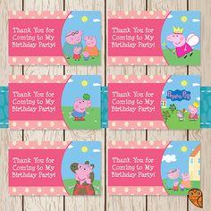 Printable Peppa Pig Birthday Goody Bag Tags by BrightOwlCreatives, $2.00