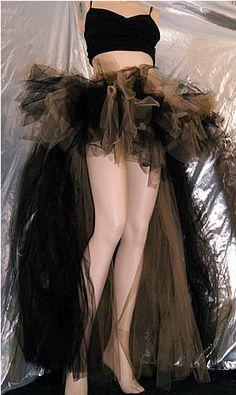 SteamPunk Gold and Black Trashy Long Bustle Skirt TuTu Cyber Gothic Raver Tutus