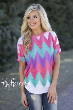 Coral Chevron Crush Tee - We love this bright chevron top from fillyflair.com!