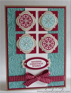 """Ornament Keepsakes, Window Frames Framelits, Joyous Celebrations, Lacy Brocade EF, 2012-2014 In Color Stitched Satin Ribbon (Raspberry Ripple), Modern Label! Small Oval, Large Oval, 1 3/8"""" Square & Circle punches, Rhinestones, Silver Glimmer Paper - FMS59"""