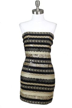 Midnight Star Embellished Strapless Dress - Black + Gold  I could have ROCKED this years ago. Too short for me now.