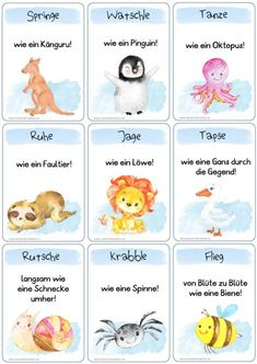 44 x animal movement fun – Zaubereinmaleins shop - Elementary Education Team Building Activities, Kindergarten Activities, Preschool, Early Intervention Program, Animal Movement, Classroom Management Plan, Good Day Sunshine, German Language Learning, School Sports