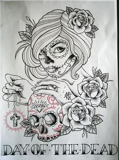 rose tattoos with skull | day of the dead skull tattoo skull rose skull rose rose tattoo roses