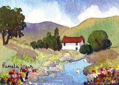 ACEO Original watercolour Cottege in Welsh Hills: Size 3 1/2 ins x 2 1/2 ins