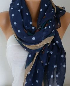 Navy Blue Polka Dot Scarf Spring Shawl Oversize Scarf by fatwoman
