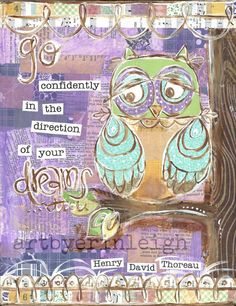 Inspirational Owl Art, Go Confidently in the Direction of Your Dreams, Thoreau Quote, 8 x 10 Fine Art Print, Mixed Media Collage via Etsy