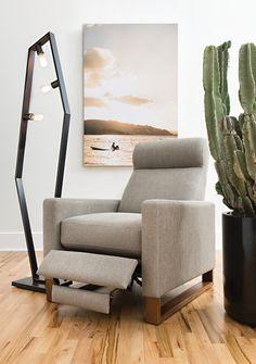 Modern press-back recliner chair
