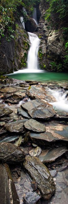 Hidden Pool and waterfall, Queenstown-Glenorchy Rd, South Island, New Zealand
