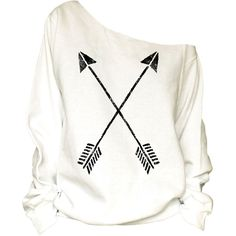 394d5fc23d9c1 Crossed Arrows Print Oversized Off Shoulder Raw Edge Sweatshirt-87 ( 29) ❤  liked
