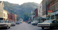 Watkins Glen, N.Y. main street, summer 1970, CanAm weekend.