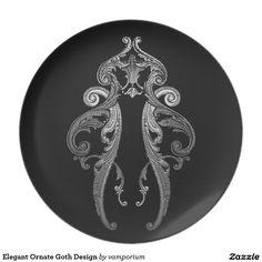 Elegant Ornate Goth Design Dinner Plate