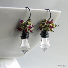 Pink and Green Keishi Pearl Flowers Glass Prism Earrings, Fuchsia Crystals and Chartreuse Pearls $42 Prisms Dangles