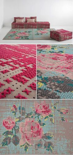 Cross stitched wool pegboard rugs. Canevas Collection designed for Gan at Maison & Objet by Charlotte Lancelot