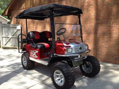 Custom Golf Cart -- Red with Silver Flames