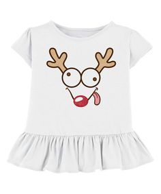 Look what I found on #zulily! White Goofy Rudolph Ruffle Tee - Toddler & Girls #zulilyfinds