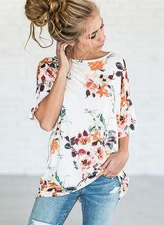 Algodón Floral Cuello redondo La mitad de manga Casuales Camisetas