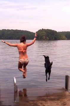 """Just a sunny day, a lake and a happy dog!"" - Ruth W Algary"