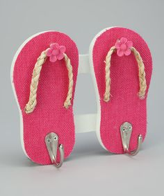 Take a look at this Pink Tropical Double Flip-Flop Wall Hook by Dennis East International on #zulily today!