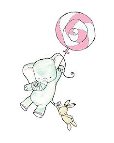 Baby Art -- Come Fly With Us Pink balloon on white -- 8X10 -- Art Print -- elephant and bunny