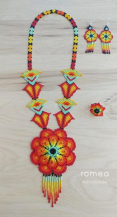 Items similar to SET Necklace, Ring, Earrings 3 D Flower - Huichol Art - Beaded Necklaces - Romea Accessories - Made in Mexico - Boho - Trendy - on Etsy Crochet Jewelry Patterns, Beaded Necklace Patterns, Bead Jewellery, Beaded Jewelry, 3 D, Mexican Jewelry, Native American Beadwork, Beading Tutorials, Beaded Flowers