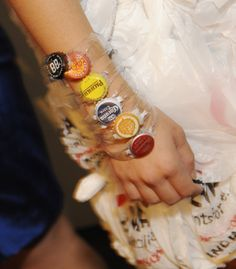 Bottle cap bracelets from the 4th Annual Eco Fashion and Arts show.