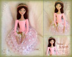 'Verena' OOAK Art Doll Ballerina by kymeli Soft Dolls, Unique Art, Ballerina, Craft Ideas, Disney Princess, Handmade, Crafts, Collection, Color
