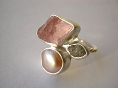 Trio ring with Rough Diamond, Rough Morganite and Natural Pearl - Engagement, Wedding, Anniversary via Etsy