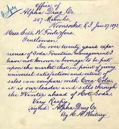 1893 letter to Coca Cola from a drugstore in R.I.