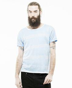 DR.DENIM/ドクターデニム - RUSS ウォーターカラー ストライプ Tシャツ (Liberty Blue 205) - SIAMESE (サイアミーズ) オンラインセレクトショップ