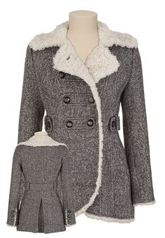 GUESS® Sherpa Trim Coat available at #Maurices