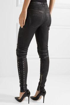 Balmain - Lace-up Leather Skinny Pants - Black