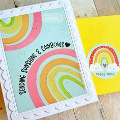 Somewhere Over the Rainbow Kit from Taylored Expressions – fastest turtle… Rainbow Card, Rainbow Colors, Card Making Kits, Rainbow Sprinkles, Shaker Cards, Cloudy Day, Art Party, Happy Mail, Over The Rainbow