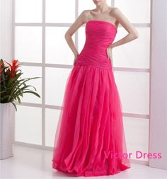 Strapless Ruffle Sleeveless Organza Floor Length Woman Prom Dresses/Long Prom Dresses