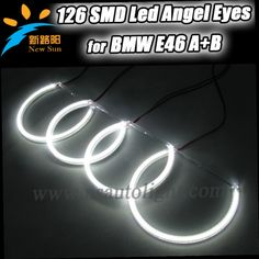 51.29$  Buy here - http://ali4m9.worldwells.pw/go.php?t=1449221826 - Free shipping 3014 LED 126 SMD Angel Eyes For BMW E46 Non PROJECTOR Halo Rings kit-white (with Non-Projector Low Beam Headlight)