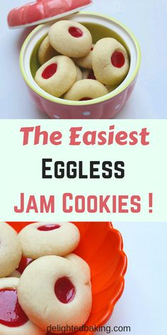 Eggless Thumbprint Cookies (Eggless Jam Cookies) - Buttery, Soft and tasty eggless cookies that can be eaten as a dessert or along with a cup of hot coffee or tea! Fun Easy Recipes, Easy Desserts, Sweet Recipes, Delicious Desserts, Dessert Recipes, Dinner Recipes, Baking Desserts, Jam Recipes, Yummy Recipes