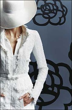 Chanel suit. White.