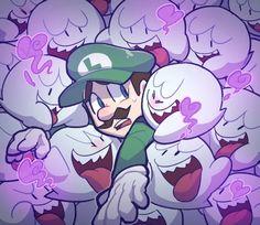 Luigi and the Boos-- Gotta catch 'em all. Mario Fan Art, Super Mario Art, Super Mario World, Hama Beads Minecraft, Perler Beads, Nintendo Game, Nintendo Characters, Instructions Lego, Art Hama